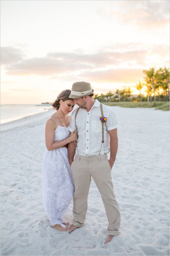 suspender short sleeve fedora hat groom beach wedding