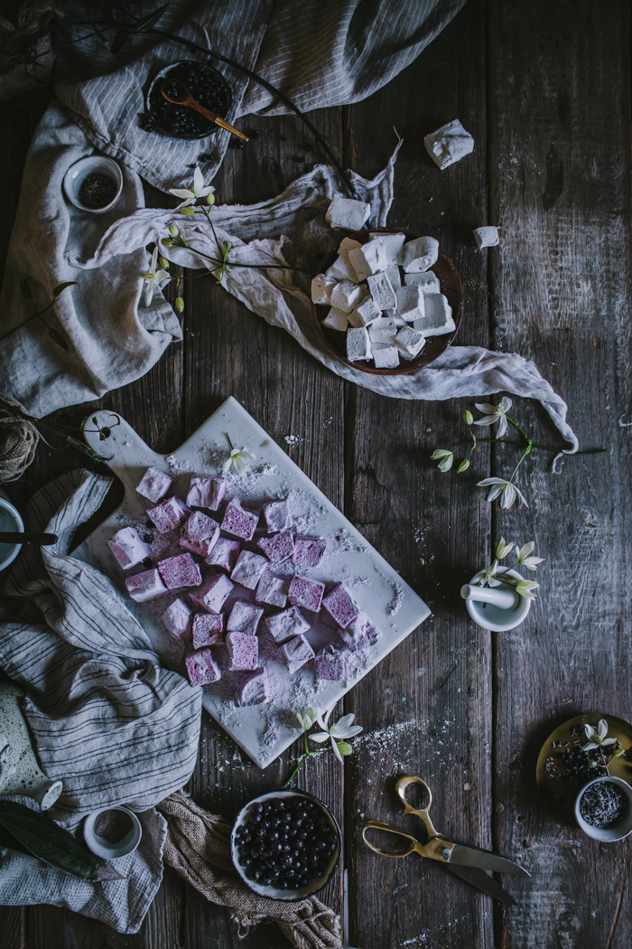 Lavender Black Currant & Vanilla Bean Rose Homemade Marshmallows by Eva Kosmas Flores | Adventures in Cooking