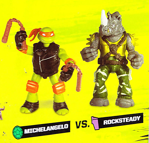 "Nickelodeon  TEENAGE MUTANT NINJA TURTLES :: Goodie vs. Baddie Twin Pack; ""MICHELANGELO vs.  ROCKSTEADY"" / ..card backer v (( 2015 ))  [[ Courtesy of Hero ]]"