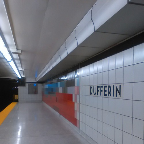 The brightly colored Dufferin subway station #ttc #toronto #subways #dufferinstreet #torontophotos