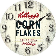 Kelloggs Vintage Wall Clock Cornflakes Floorboard Image Antique Style Dorm Room - Dinner - Kitchen - In Stock and comes with AMAZON 30days 100% MONEY BACK GUARANTEE