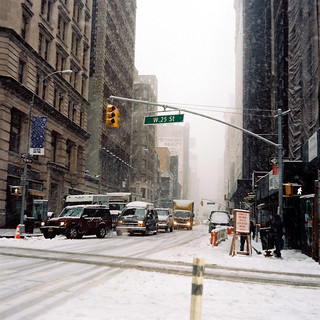 25th Street and Broadway in the snow