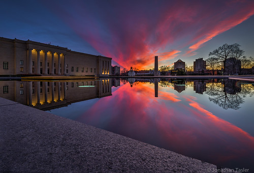 sunset reflections kansascity missouri reflectingpool nelsonatkins