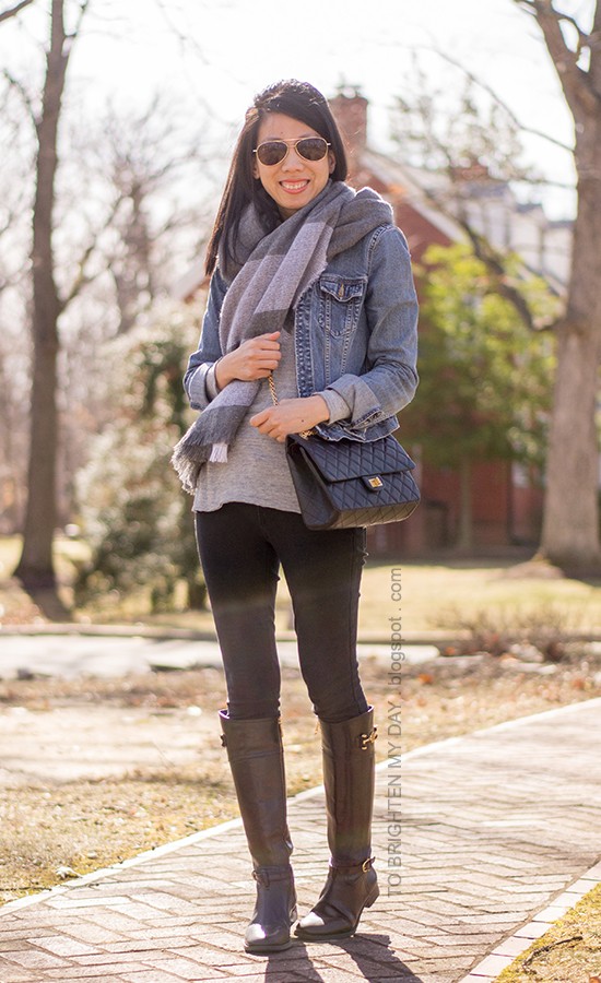 denim jacket, plaid oversized scarf, black riding boots