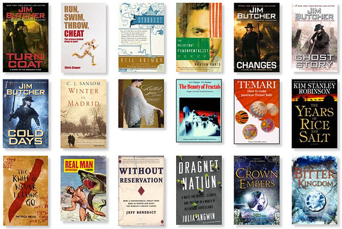 The books I read in 2014, a screenshot of the middle section.  See domesticat.net/2014/12/year-books-came-back-me for more explanation.