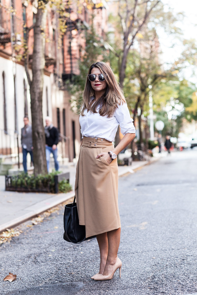 zara midi wrap skirt fall outfit what to wear to work when its cold outside ann taylor perfect white button down shirt dvd bethany heels nude pumps nordstrom sunglasses fend 2jour red lipstick limecrime matte lipstick camel skirt full skirt nyc fashion blogger corporate catwalk professional blogger