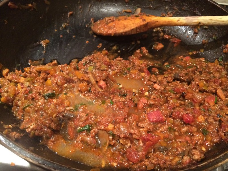 Spaghetti Bolognese : Half removed for another meal