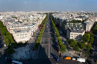 Vue sur les Champs Elysées depuis le sommet de l'Arc de Triomphe