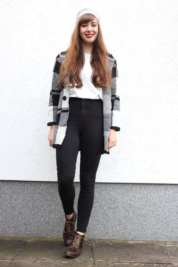 Plaid coat jacket cardigan knit - plaid trend
