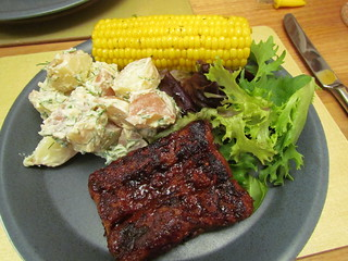Barbecued Ribz, Garlic-Dill Potato Salad; herb-buttered roasted corn