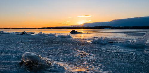winter sunset sun ice espoo finland prime sundown talvi 15mm jää auringonlasku aurinko uusimaa hanasaari