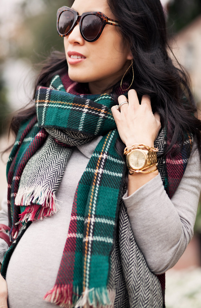 cute & little blog | petite fashion maternity bumpstyle | green plaid herringbone scarf, gorjana drop earrings, michael kors watch, stella dot christina link bracelet, gorjana cuff | fall winter outfit