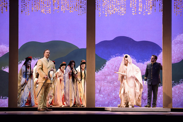 Gabriele Viviani as Sharpless, Kristine Opolais as Cio-Cio-San and Brian Jagde as Lieutenant Pinkerton in Madama Butterfly © ROH 2015. Photo by Bill Cooper