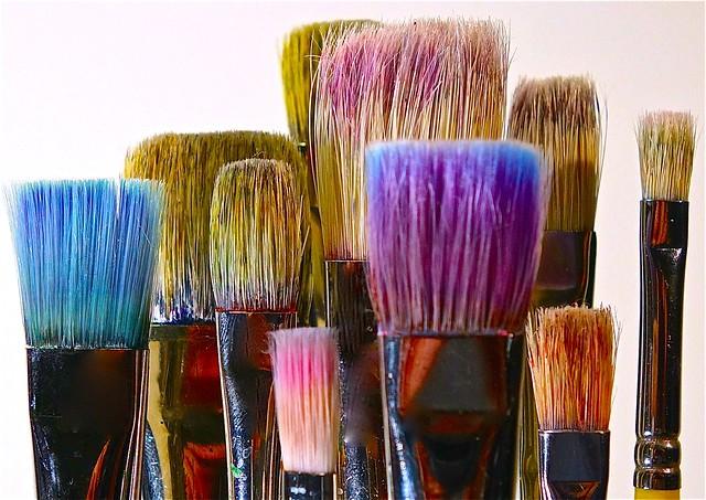 paint brushes pigment color