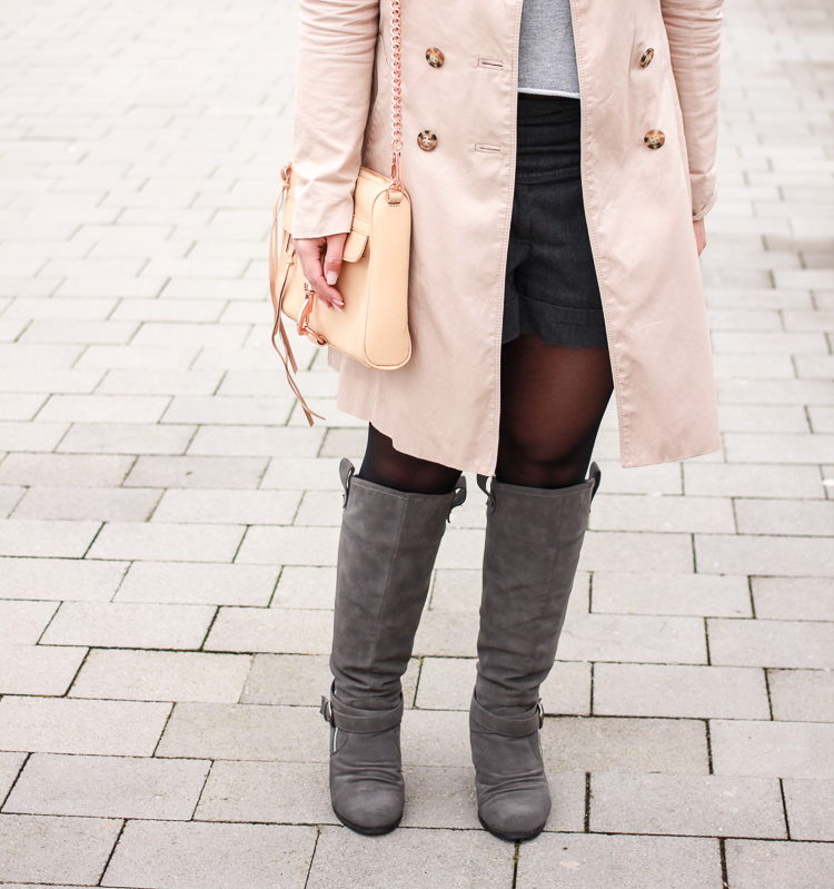 Trench Coat & Grey Boots