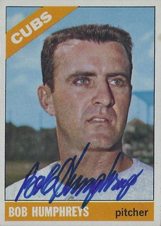 1966 Topps - Bob Humphreys #342 (Pitcher) - Autographed Baseball Card (Chicago Cubs)