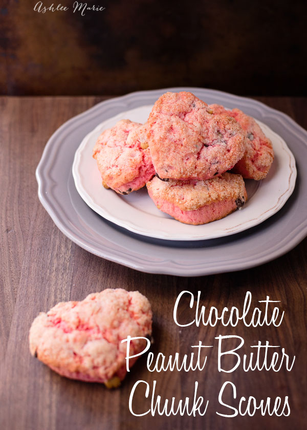 peanut butter and chocolate chunk scones taste amazing, make them pink and heart shaped scones are perfect for the ones you love