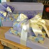 The theme of this wrapping was lavender, ivory and periwinkle using the flower paper and the lavender shadow stripe paper. A great way to mix and match.