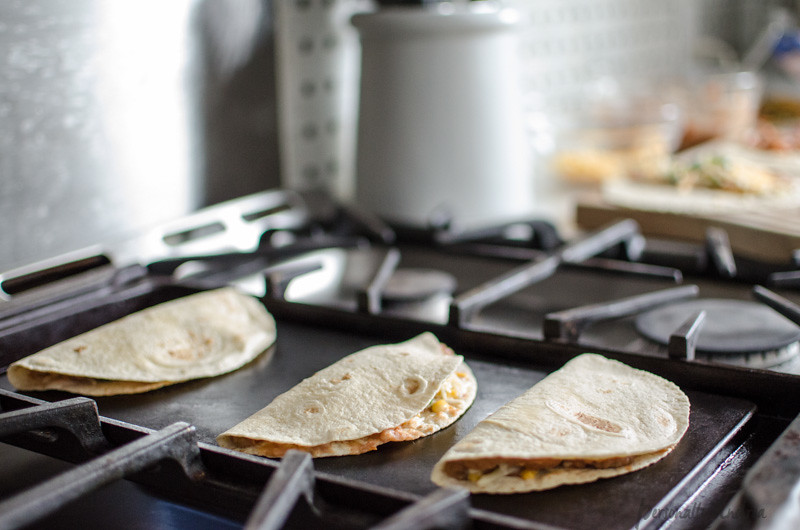 Quesadillas on the griddle