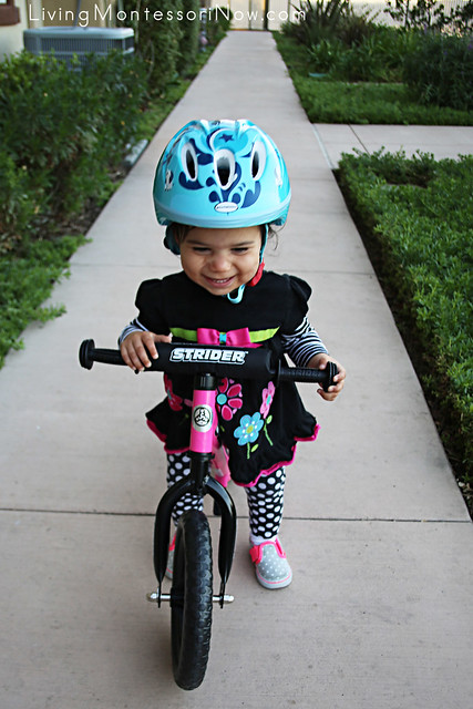 Success on her own with the Strider bike