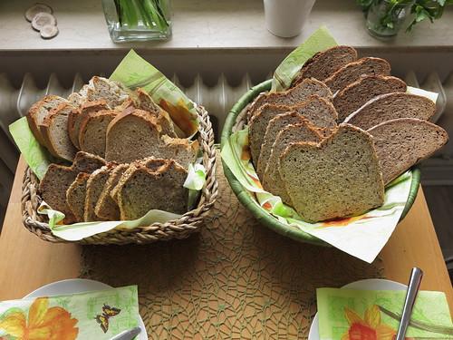 Brotkörbe zum Frühstück an meinem Geburtstag