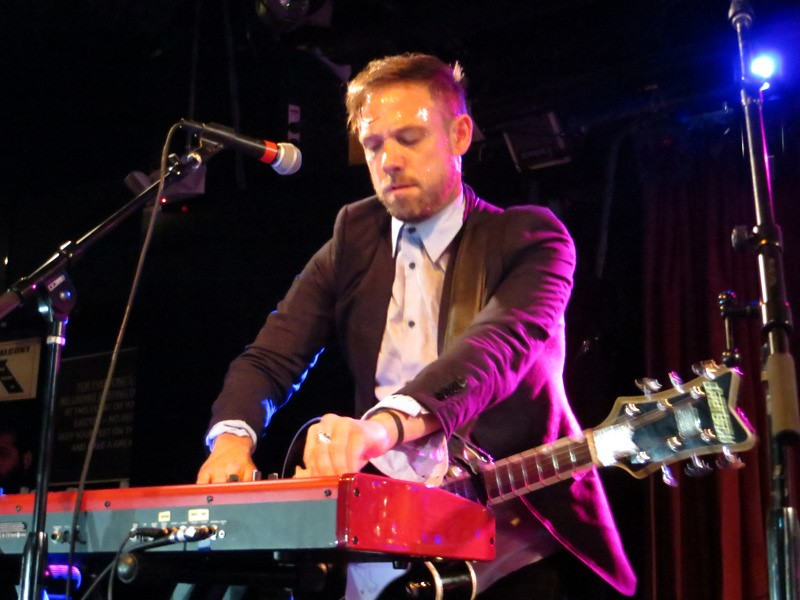 Mikel Jollett and his Airborne Toxic Event bandmates expertly juggled guitars and synths over two electric nights at Boston's Paradise Rock Club. Photo by Julie.