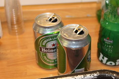 bottle, tin can, drink,