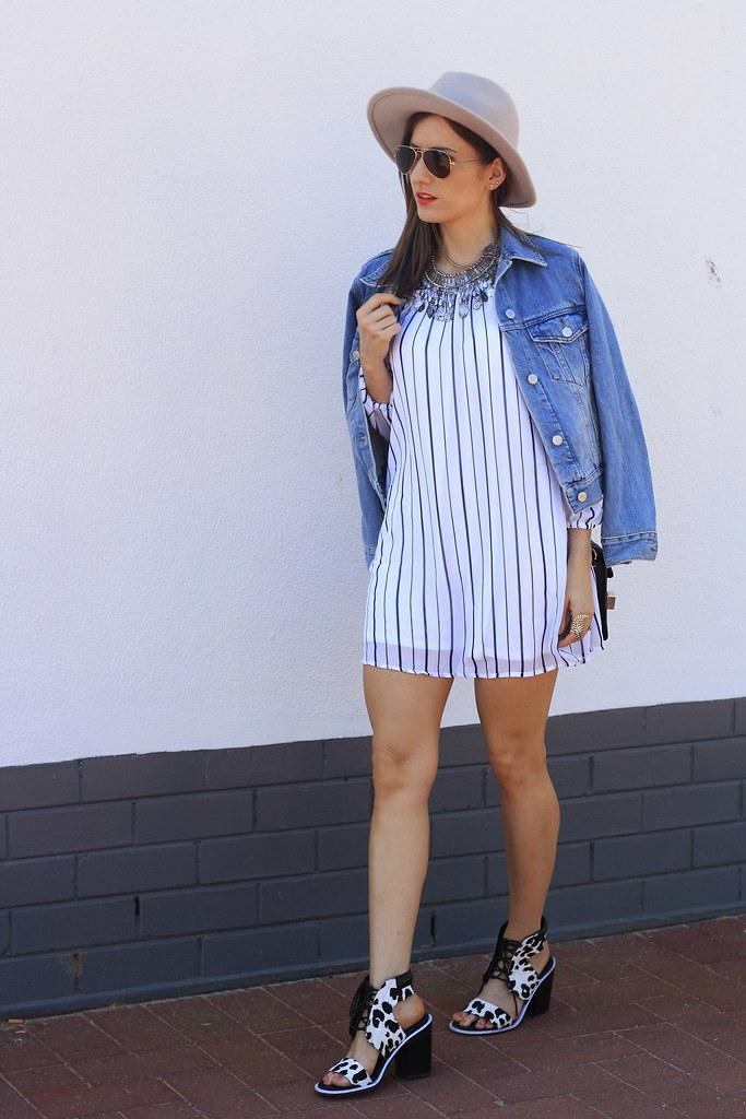 Stripe dress, denim jacket