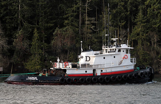 IMG_6832CE1 - Port Hadlock WA - Portage County Park - tug MV TAURUS hauling a chip barge north through the Port Townsend Canal