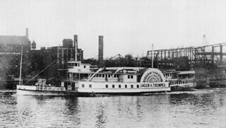 Kingston - Albany boat JACOB H. TREMPER leaving New York's Capital City enroute downriver c.1890s -Rex Stewart