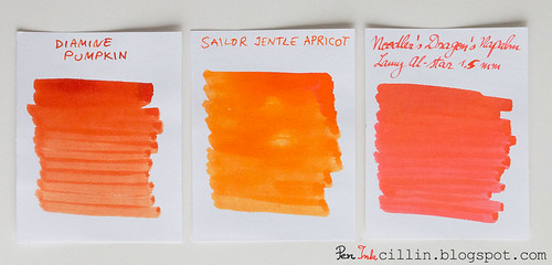 Diamine Pumpkin vs Sailor Jentle Apricot vs Noodler's Dragon's Napalm