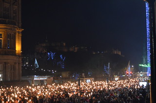 Edinburgh Hogmanay 2014 - Torchlit Procession With Castle in Background