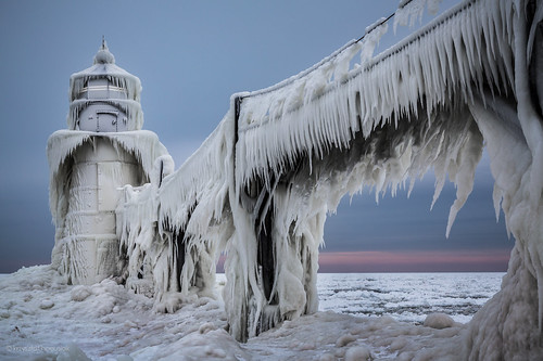 Saint Joseph Lighthouse in Winter - Michigan