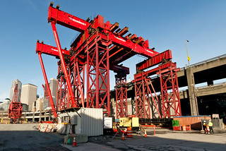 Assembly of the lift tower that crews will use to access and repair Bertha