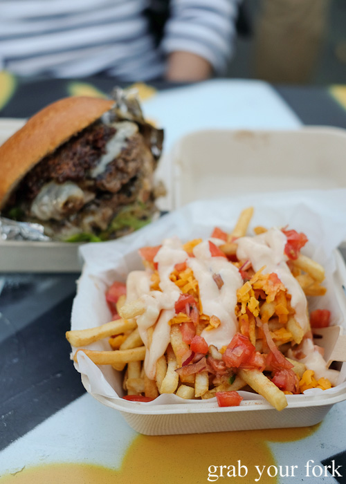 Dirty fries and double Fat Boy burger at the Mister Gee Burger Truck, Burwood Deluxe Car Wash