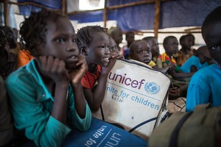 Refugee children from South Sudan learn at a makeshift school at Kule Camp in Gambella region of Ethiopia