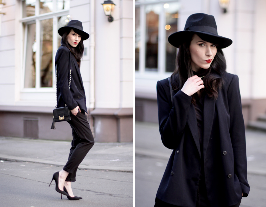 black outfit ysl yves saint laurent hat high heels suede suit boyish blazer fashion fashionblogger ricarda schernus cats and dogs blog berlin hannover 2