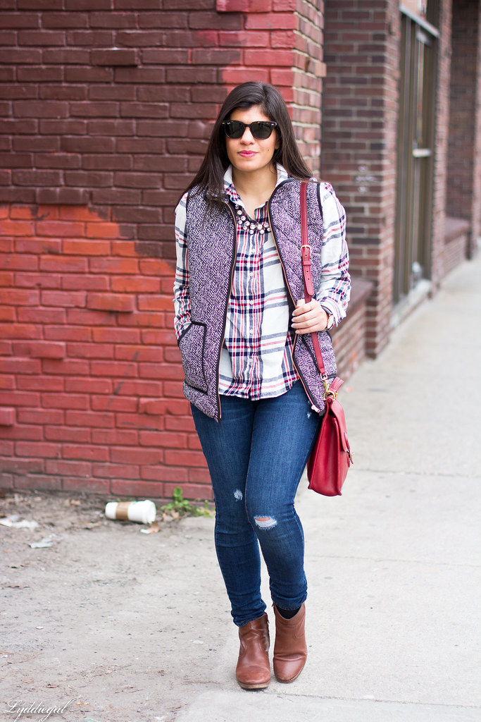 plaid shirt, herringbone vest, red coach bag.jpg