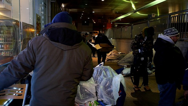 Homeless advocates for the homeless distribute