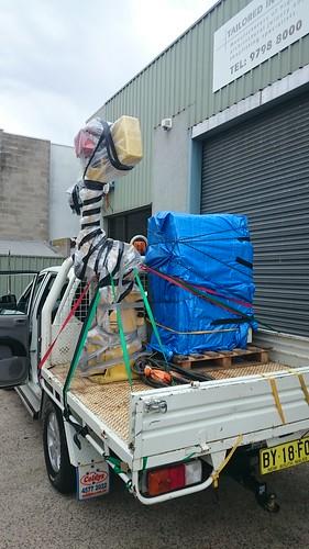 Giant robot arm move