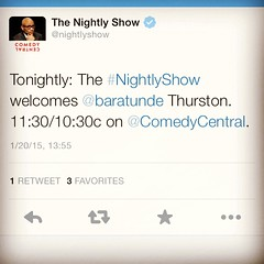 So this is happening. See yall tonightly on @thenightlyshow !! #keepit100