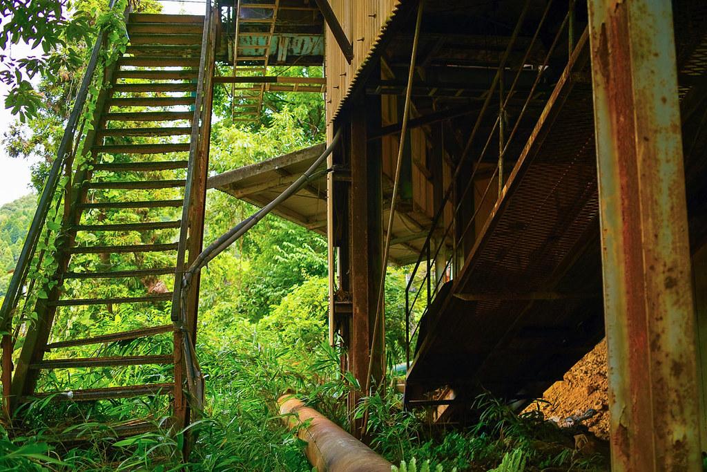 森の中の工場の廃墟