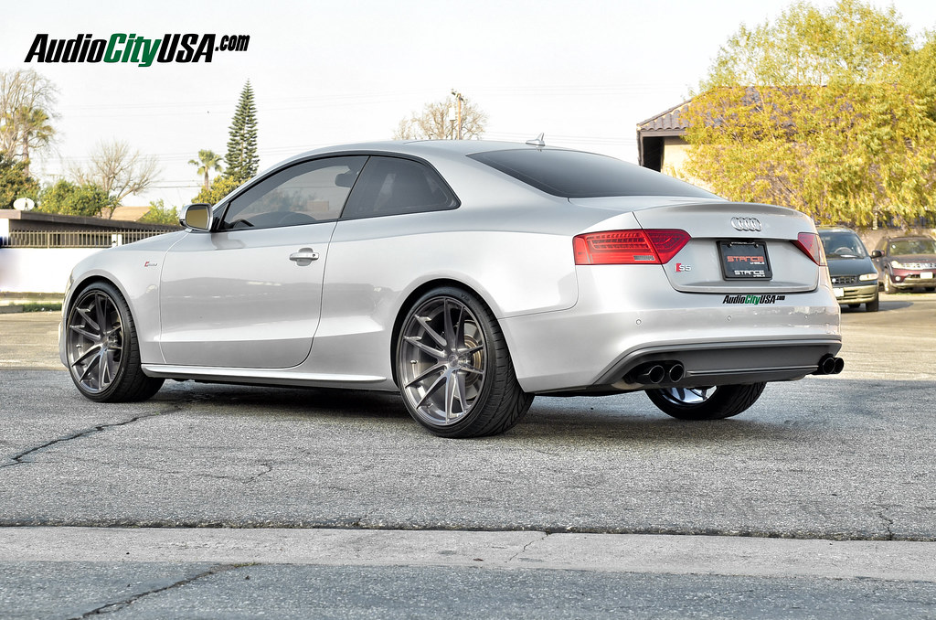 2013 Audi S5 20x10 5 Stance Sc 1 Titanium Brush Wheels
