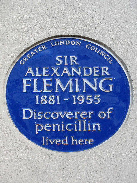Alexander Fleming blue plaque - Sir Alexander Fleming 1881-1955 discoverer of penicillin lived here