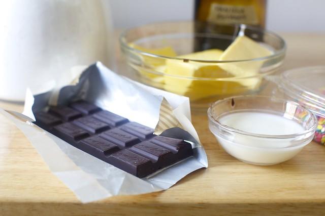 chocolate, butter, sugar, milk, vanilla