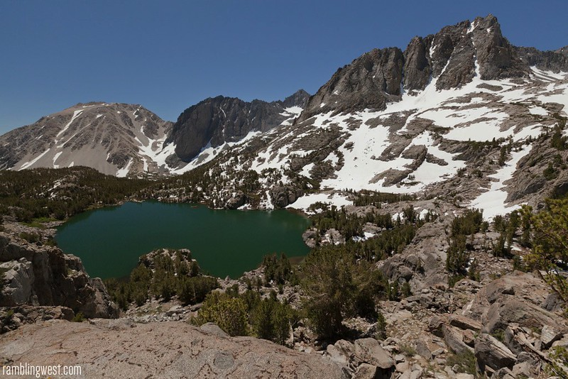 Overlook from Fifth Lake Camp, big pine lakes