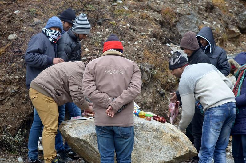 chicken roast preparation in North sikkim