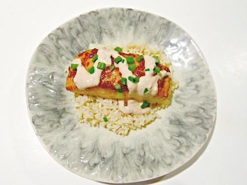 Chili Glazed Salmon with Sriracha Cream Sauce
