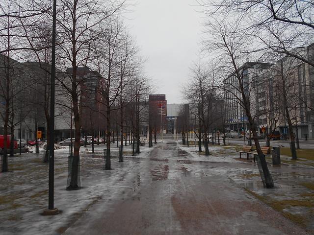 Poikkeuksellisen aikaista lumen sulamista Espoon Leppävaaran keskustassa 20.2.2015