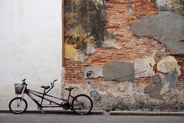 faded wall mural, Georgetown, Penang, Malaysia